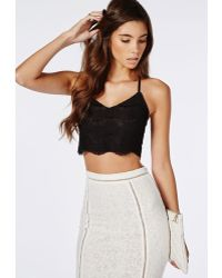 Missguided Cross Back Lace Bralet Black - Lyst
