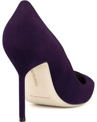 Manolo Blahnik Bb Suede 105mm Pump Plum Made To Order - Lyst
