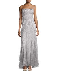 Sue Wong Strapless Embellished Gown - Lyst