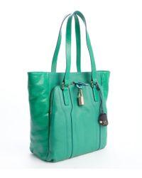 Olivia Harris Green Leather 'Kraven' Padlock Tote green - Lyst