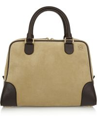 Loewe Amazona 75 Large Leather and Suede Tote - Lyst