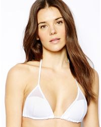 French connection Poppy Mesh Triangle Bikini Top - Lyst