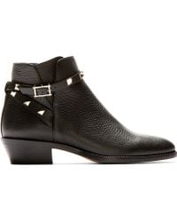 Valentino Black Leather Rockstud Strapped Ankle Boots - Lyst