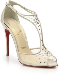 Christian Louboutin Patinana Crystal Mesh T-Strap Sandals gold - Lyst