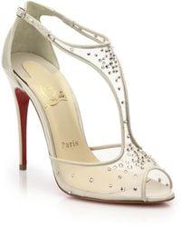 Christian Louboutin Patinana Crystal Mesh T-Strap Sandals gold - Lyst