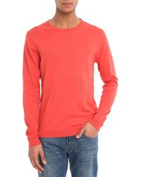 Selected Red Two-Tone Patch Round-Neck Sweater - Lyst