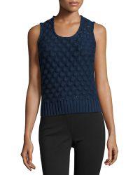 Carolina Herrera Popcorn-Knit Virgin-Wool Top - Lyst