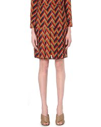 Gucci | Chevron-print Silk And Wool-blend Skirt | Lyst