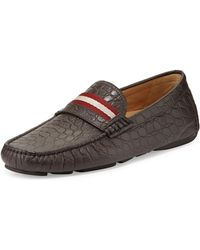 Bally Wabler Croc-embossed Leather Driver - Lyst