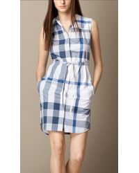 Burberry Checked Cotton-Voile Shirt Dress - Lyst