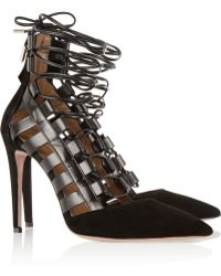 Aquazzura Amazon Suede And Leather Pumps - Lyst