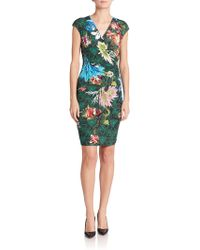 Roberto Cavalli Ruched Floral Sheath green - Lyst