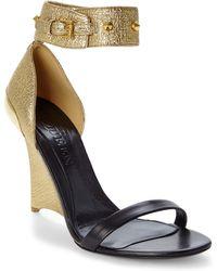 Alexander McQueen Black & Gold Wedge Sandals - Lyst