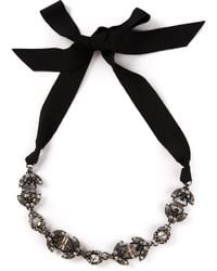 Lanvin Crystal Bead Ribbon Necklace - Lyst