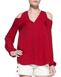 Tamara Mellon Silk Cold-shoulder Blouse - Lyst