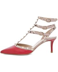 Valentino Rockstud Sling Back T65 in Red - Lyst