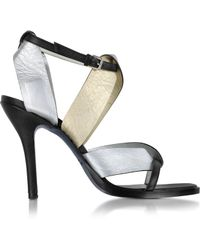 Jil Sander Two Tone Metallic High-Heel Sandal - Lyst