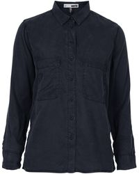 Topshop Moto Blue Black Tencel Shirt - Lyst