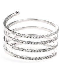Stone - 18Kt White Gold Vertigo Ring With White Diamonds - Lyst