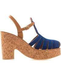 K. Jacques - Melissa Suede And Cork Wedges - Lyst