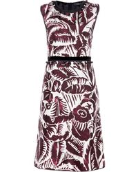 Marc Jacobs Velvettrimmed Printed Taffeta Dress - Lyst