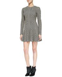 Nicole Miller Artelier - Long-sleeve Printed Fit & Flare Dress - Lyst