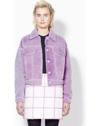 3.1 Phillip Lim Denim Style Shearling Jacket - Lyst