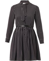 Saint Laurent Polkadotprint Silk Dress - Lyst