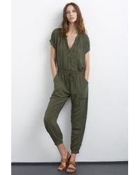 Velvet By Graham & Spencer Cassia Challis Jumpsuit green - Lyst