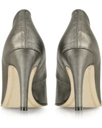 Zoe Lee - Marlon Gunmetal Leather Pump - Lyst