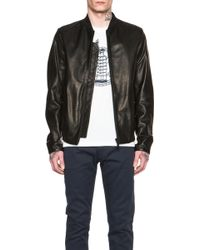 Kenzo Men'S Leather Bomber With Statue Of Liberty Embroidery - Lyst
