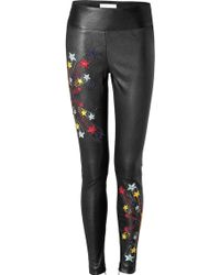 Matthew Williamson Embroidered Leather Leggings - Lyst