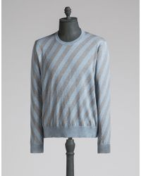 Dolce & Gabbana | Cotton Sweater With Diagonal Stripes | Lyst