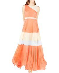 BCBGMAXAZRIA Pleated Colorblock Gown - Lyst