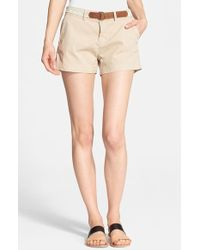 Joie 'Jardin' Belted Chino Shorts - Lyst