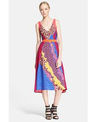 Peter Pilotto Print Fit & Flare Midi Dress - Lyst