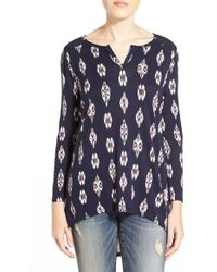 Lucky Brand | 'ditsy Ikat' Print High/low Top | Lyst