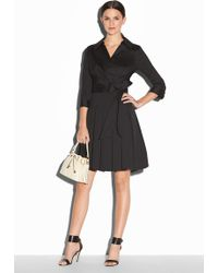 Milly Poplin Pleated Wrap Dress black - Lyst
