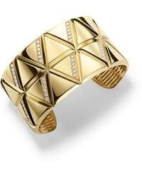 Marina B - 18k Yellow Gold Small Triangoli Diamond Cuff Bracelet - Lyst