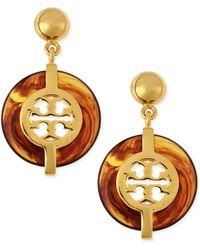 Tory Burch Tortoise Deco Logo Drop Earrings - Lyst