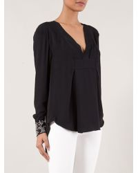 Thakoon V-neck Woven Cuff Blouse - Lyst