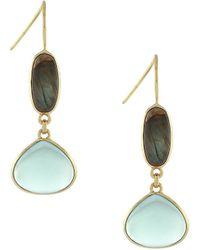 Cole Haan - Labradorite And Green Amethyst Double Drop Earrings - Lyst