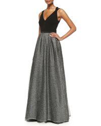 Aidan Mattox Sleeveless Metallic Tulle Gown - Lyst