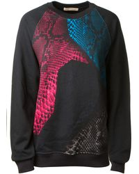 Christopher Kane Black Coton Multicolor Reptile Printed Sweater - Lyst