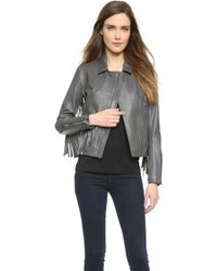 ThePerfext Gina Jacket - Grey Leather - Lyst