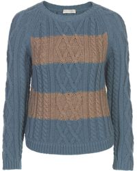 Stefanel Sweater with Mixed Stitch Pattern - Lyst