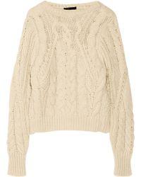 Maje Kalimnos Aran-knit Sweater - Lyst