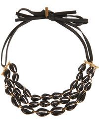 Isabel Marant Leather And Shell Necklace - Lyst