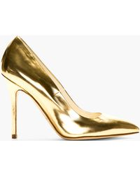 Brian Atwood Gold Leather Pumps - Lyst