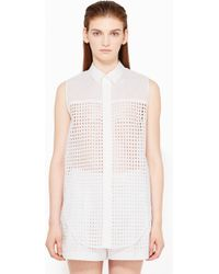 3.1 Phillip Lim Mixed Lace Sleeveless Top - Lyst